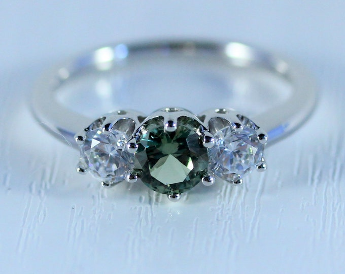 Green sapphire & Solid Gold Trilogy ring with man made diamonds ring available in 10k, 14k, 18k yellow, rose or white gold - engagement ring