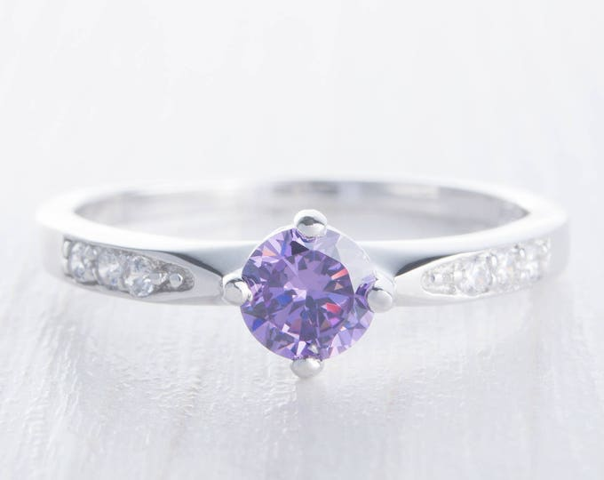 Natural Amethyst Solitaire engagement ring - available in Sterling Silver  or white gold - handmade