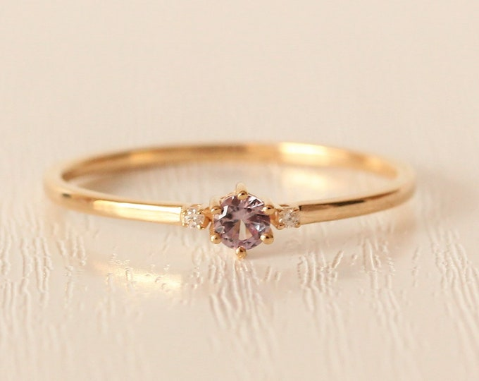 Alexandrite and Moissanite Solid Gold Trilogy ring - engagement ring available in rose, white and yellow gold