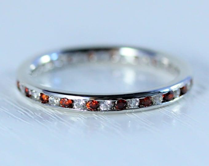 Moissanite and Garnet 2.5mm wide full eternity ring avalable in 10k, 14k, 18k yellow, rose or white gold
