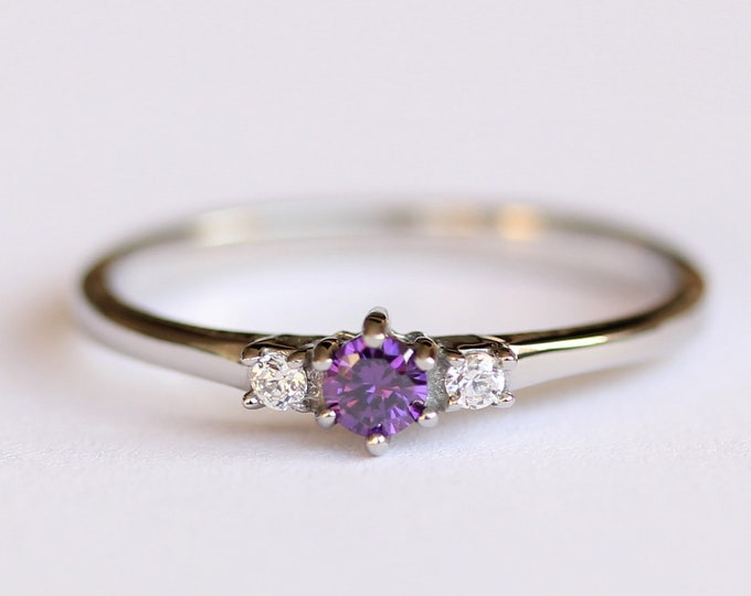Natural Amethyst and White Sapphire 3 stone Trilogy Ring in White Gold or Titanium  - engagement ring - handmade ring