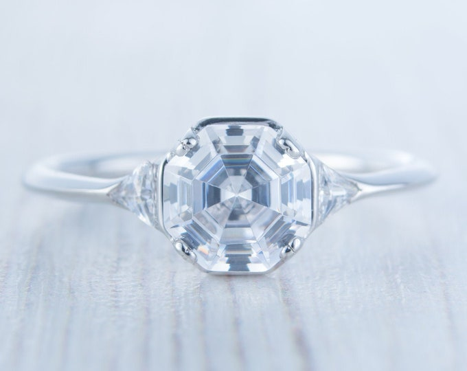 Moissanite octagon & Trillion solitaire engagement ring available in 10k, 14k, 18k Rose, yellow or white gold