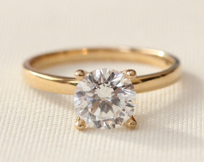 1.5ct Solid gold Moissanite solitaire ring available in 10k, 14k, 18k Rose, yellow or white gold - engagement ring