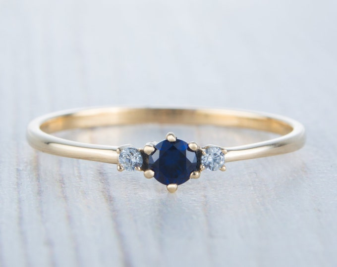 Natural Blue Sapphire and Moissnaite Solid Yellow Gold Trilogy ring - engagement ring