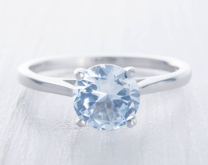 Natural 1.5ct Aquamarine solitaire ring in Titanium or White Gold - engagement ring - wedding ring - handmade ring