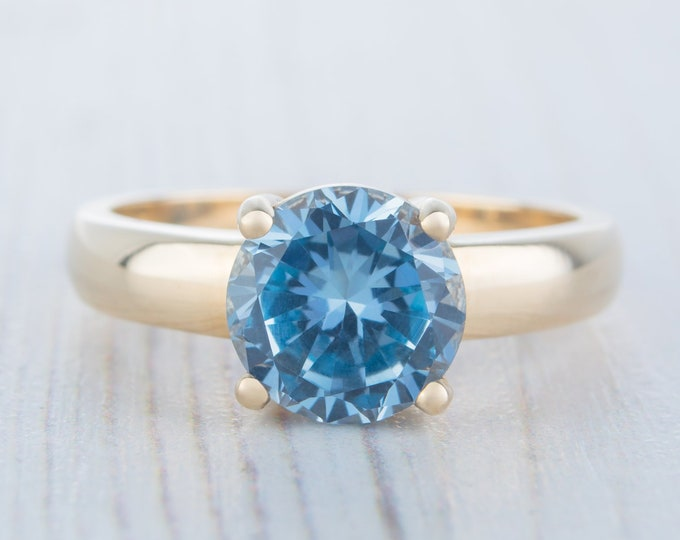 2ct Aquamarine Solid gold solitaire ring available in Rose, yellow or white gold - engagement ring