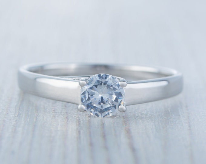 0.6ct Solid gold man made diamond solitaire ring available in 10k, 14k, 18k Rose, yellow or white gold - engagement ring