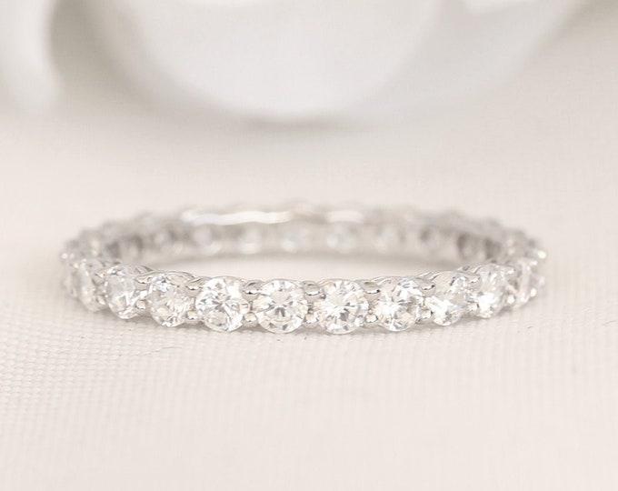 Platinum 2.5mm wide Man Made Diamond Simulant FULL Eternity ring - stacking ring - wedding band