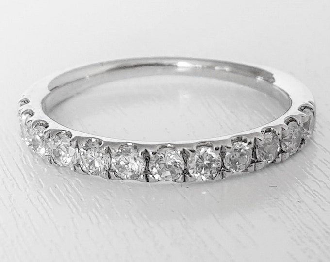 Genuine Moissanite 3mm wide Half Eternity ring available in gold and silver- stacking ring - wedding band