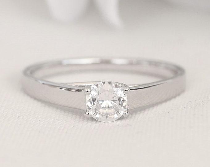 Platinum 0.6ct man made diamond solitaire ring - engagement ring