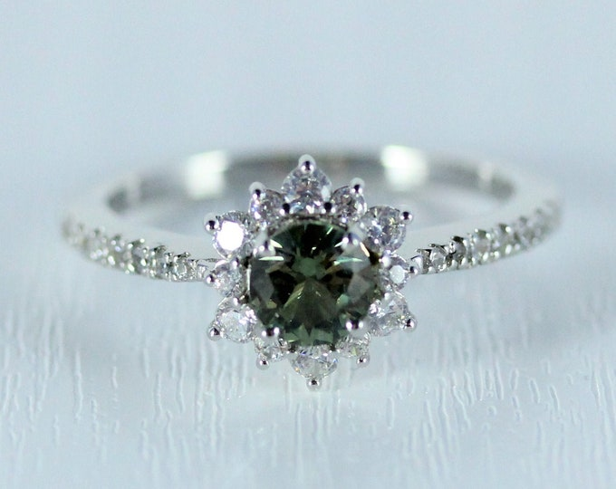 Green Sapphire halo solitaire engagement ring available in 10k, 14k, 18k Rose, yellow or white gold and platinum