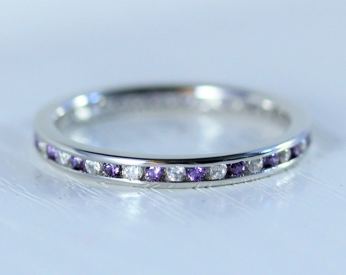 Moissanite and Amethyst 2.5mm wide full eternity ring avalable in 10k, 14k, 18k yellow, rose or white gold and platinum