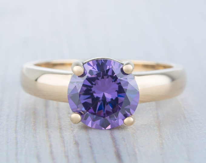 2ct Amethyst Solid gold solitaire ring available in Rose, yellow or white gold - engagement ring