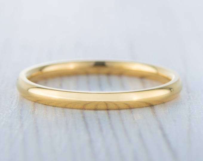 2mm filled 18ct Yellow gold Plain Wedding band Ring - gold ring