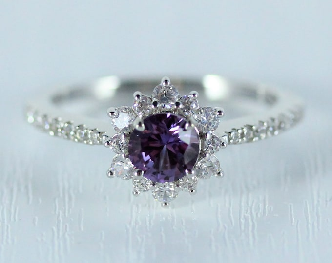 Alexandrite halo solitaire engagement ring available in 10k, 14k, 18k Rose, yellow or white gold and platinum