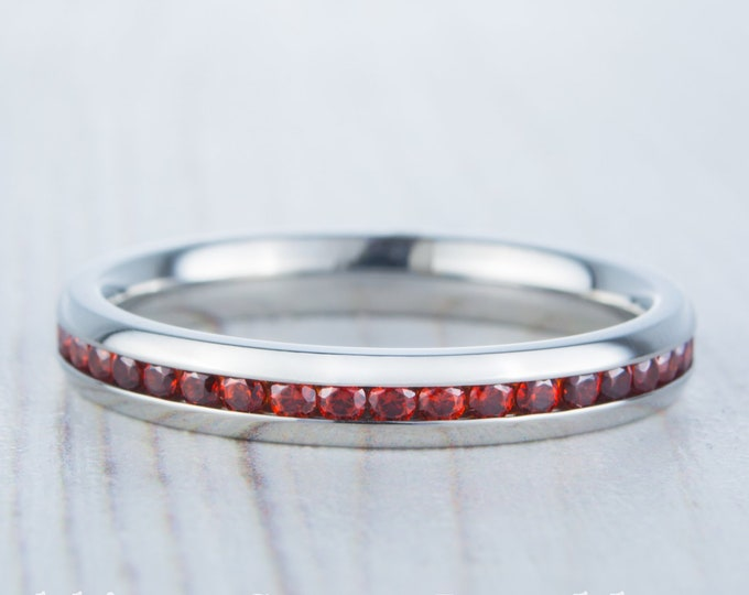 Natural Garnet 3mm Wide Full Eternity ring / stacking ring in white gold or titanium - Wedding Band - Engagement ring