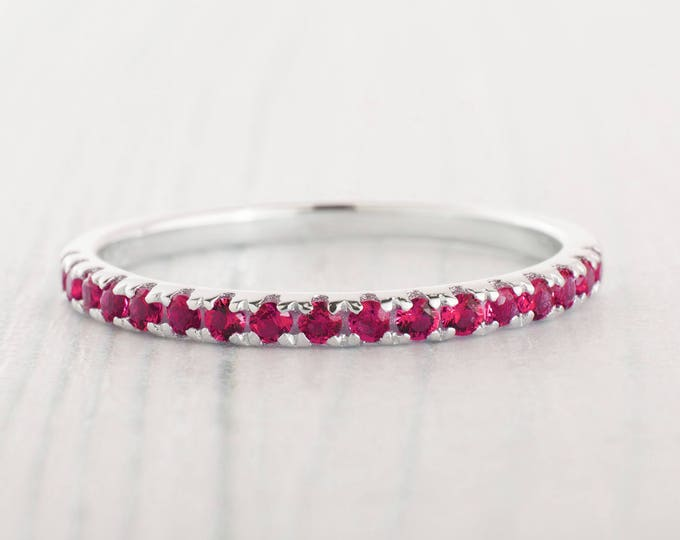 1.8mm wide Ruby Half Eternity ring  in white gold or Silver - stacking ring - wedding band - handmade engagement ring