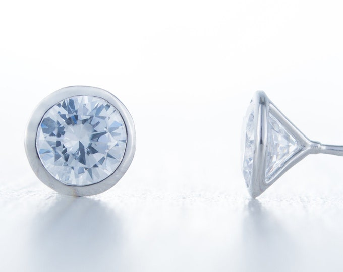 Man Made Diamond Simulant stud earrings, available in sterling silver and white gold 3mm, 4mm, 5mm or 6mm sizes