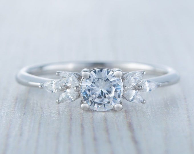 Solid gold man made diamond round & marquise solitaire engagement ring available in 10k, 14k, 18k Rose, yellow or white gold