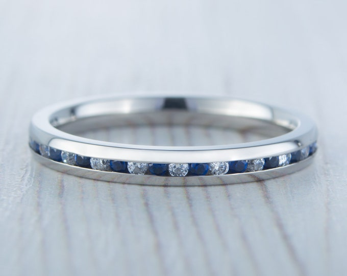 Lab blue & White sapphire 2.5mm Wide Full Eternity ring / stacking ring in white gold or titanium - Wedding Band - Engagement ring