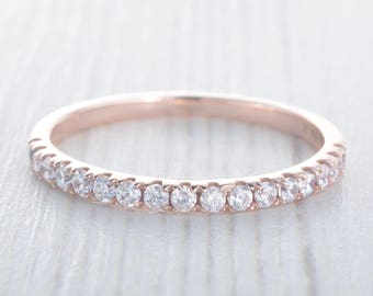 1.8mm wide Man Made Diamond Simulant Half Eternity ring Solid Rose Gold - stacking ring - wedding band - handmade engagement ring