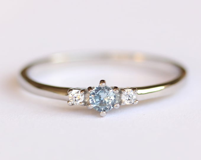Natural Aquamarine and White Sapphire 3 stone Trilogy Ring in White Gold or Titanium  - engagement ring - handmade ring
