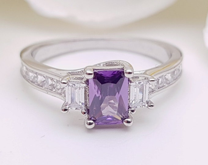 Amethyst Solid Gold Radiant 3 stone Trilogy ring with man made diamonds - yellow, rose or white gold - engagement ring