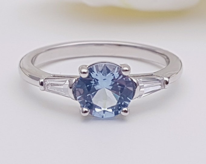 1.5ct aquamarine & Solid gold man made diamond solitaire ring available in Rose, yellow, white gold
