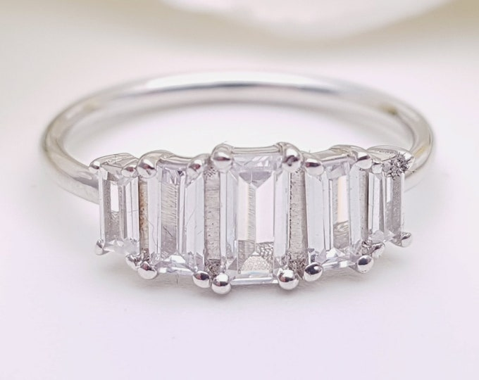 5 stone Baguette ring with man made diamonds ring available in solid gold or platinum - engagement ring