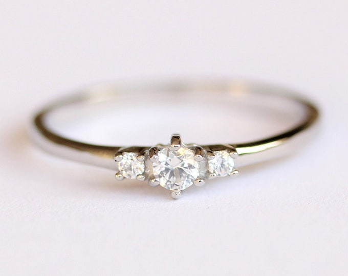 Natural White Sapphire 3 stone Trilogy Ring in White Gold or Titanium  - engagement ring - handmade ring