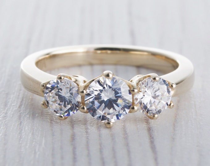 Solid gold Moissnaite Trilogy ring available in 10k, 14K, 18K Rose, yellow or white gold - engagement ring
