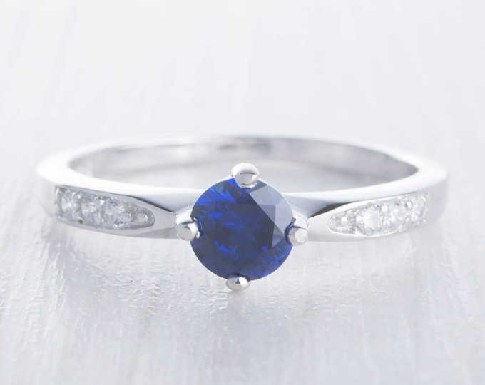 Natural blue sapphire solitaire ring - available in white gold or sterling silver - engagement ring - wedding ring