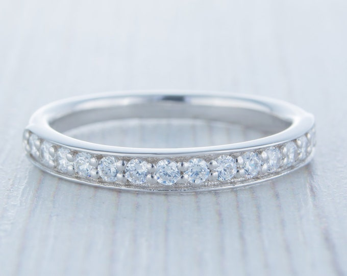 Solid Gold 3mm wide  Man Made Diamond Simulant Half Eternity ring - stacking ring - wedding band