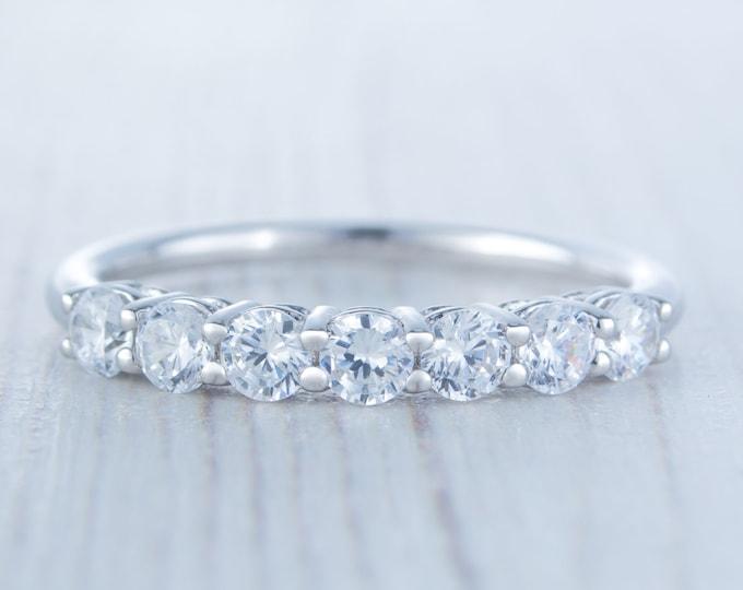 Platinum 7 stone Man Made Diamond Simulant Half Eternity ring - stacking ring - wedding band