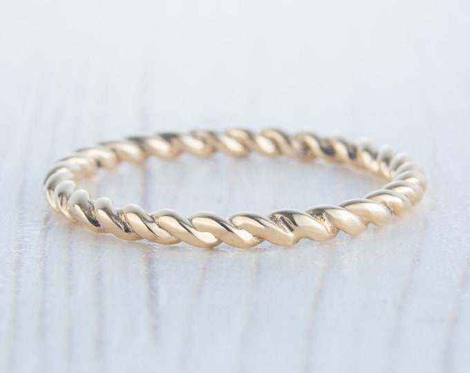 2mm Solid yellow gold twist Weave Ring - wedding ring - wedding band - promise ring