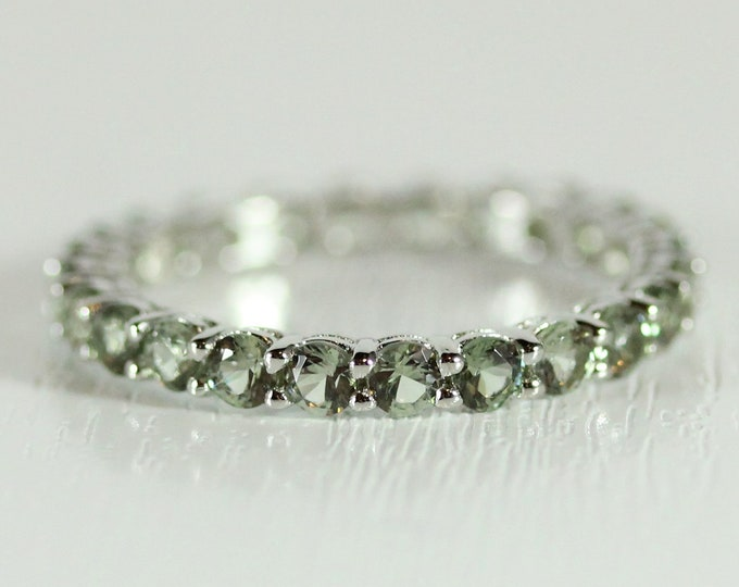 Green sapphire 2.5mm wide full Eternity ring - stacking ring - wedding band available in gold and platinum