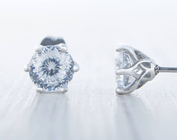 Portuguese Cut Man Made Diamond Simulant stud earrings, available in titanium, white gold and surgical steel 5mm or 6mm sizes