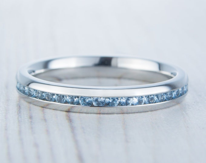 Natural Aquamarine 3mm Wide Full Eternity ring / stacking ring in white gold or titanium - Wedding Band - Engagement ring