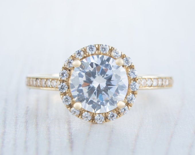 Halo 1.7ct Solid gold Man made diamond simulant solitaire ring available in 10k, 14k, 18k Rose, yellow or white gold