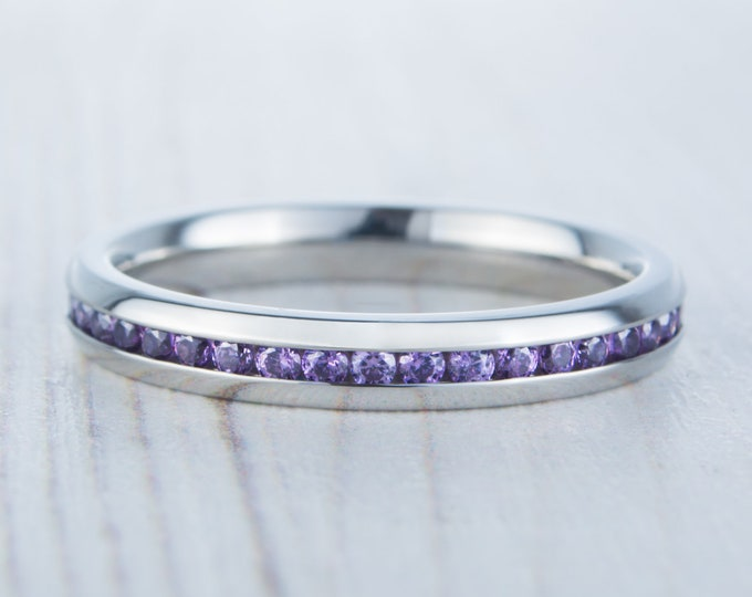 Natural Amethyst 3mm Wide Full Eternity ring / stacking ring in white gold or titanium - Wedding Band - Engagement ring