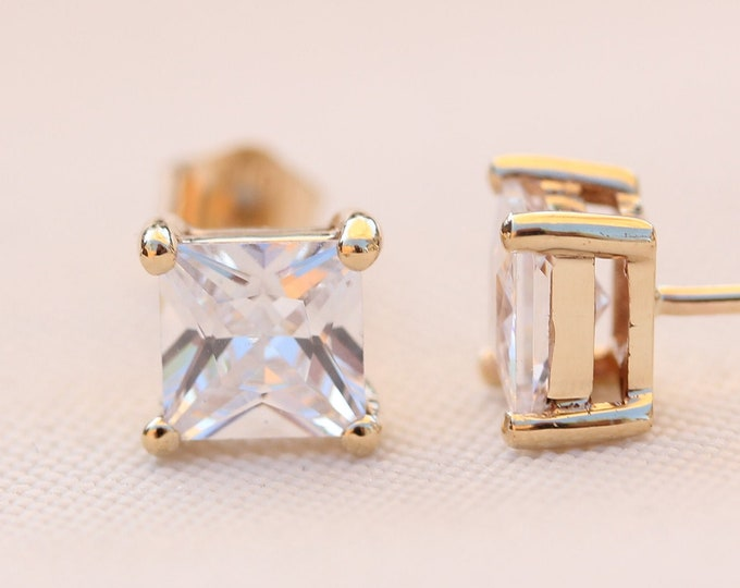 10K Solid Yellow Gold princess cut man made diamond stud earrings,  3mm, 4mm & 5mm sizes