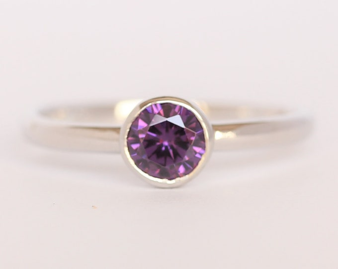 Natural Amethyst bezel set solitaire ring - Available in white gold or sterling silver - handmade ring