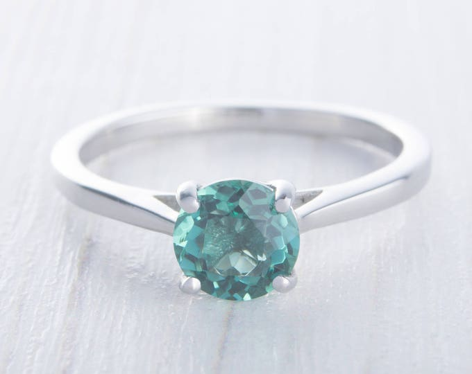 Natural 1ct Columbian Emerald solitaire ring in Titanium or White Gold - engagement ring - wedding ring - handmade ring
