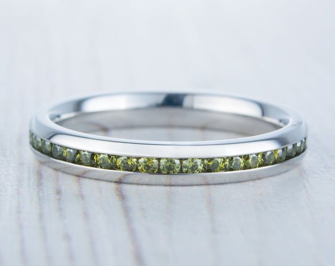 Natural Peridot 3mm Wide Full Eternity ring / stacking ring in white gold or titanium - Wedding Band - Engagement ring