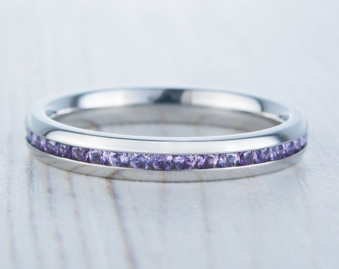 Lab Alexandrite 3mm Wide Full Eternity ring / stacking ring in white gold or titanium - Wedding Band - Engagement ring