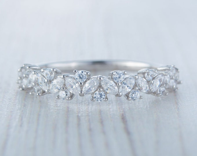 Solid gold man made diamond Marquise and round cut half eternity ring available in 10k, 14k, 18k Rose, yellow or white gold