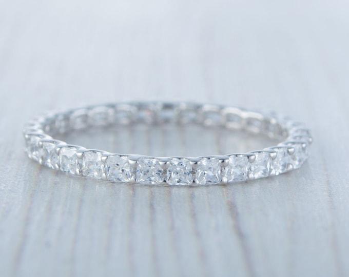 Solid Gold 2.5mm wide princess cut Man Made Diamond Simulant FULL Eternity ring - stacking ring - wedding band