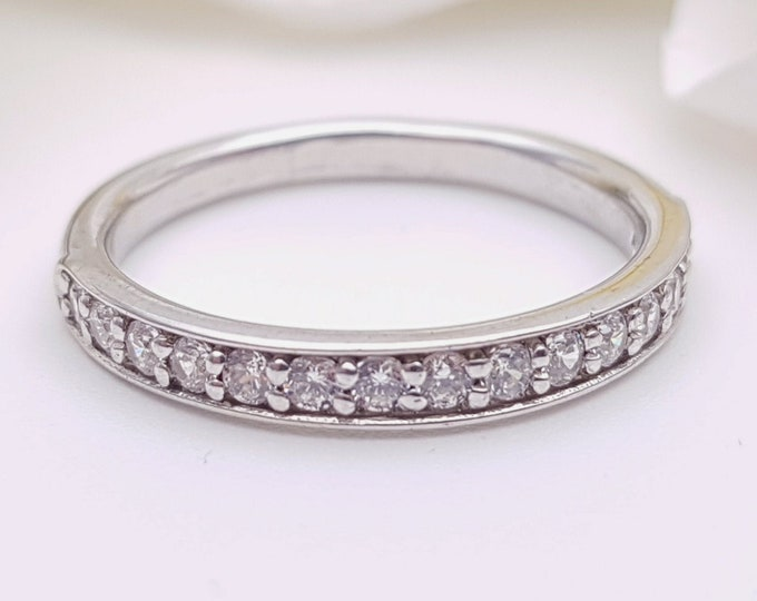Genuine Moissanite 3mm wide Half Eternity ring - available in gold, platinum or silver - stacking ring - wedding band