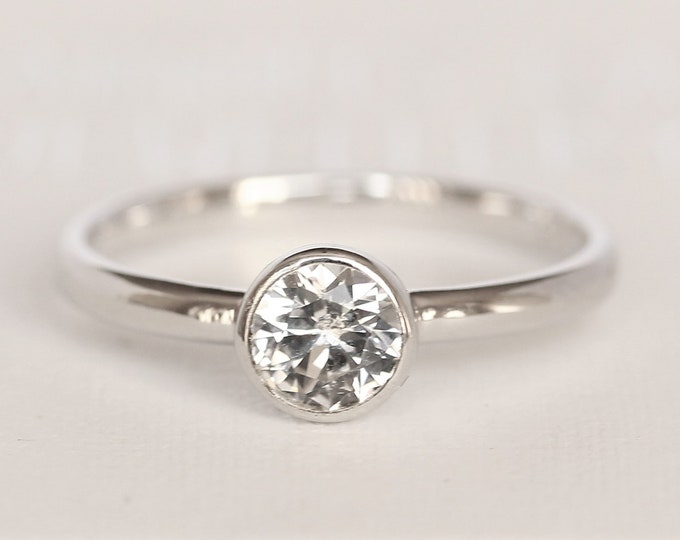 Simulated diamond bezel set solitaire ring - Available in white gold or sterling silver - handmade ring