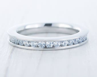 3mm Wide Man Made Diamond Simulant Full Eternity ring / stacking ring in white gold or titanium - Wedding Band - Engagement ring